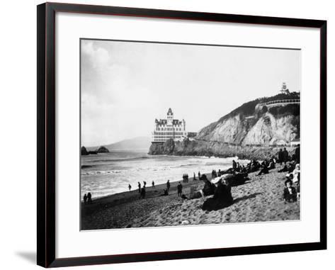 Crowds Enjoy the Beach Below the Cliff House--Framed Art Print