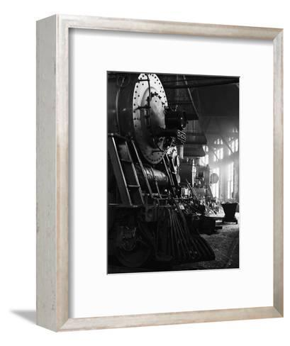 Locomotives in Roundhouse-Jack Delano-Framed Art Print