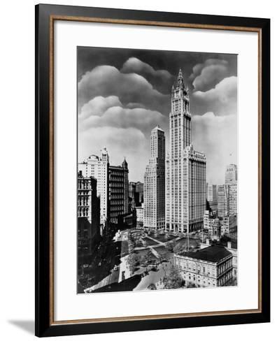 Woolworth Building and City Hall Park, Manhattan--Framed Art Print