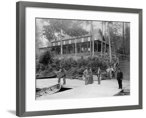 Boaters at Lake Lodge-Seneca Ray Stoddard-Framed Art Print
