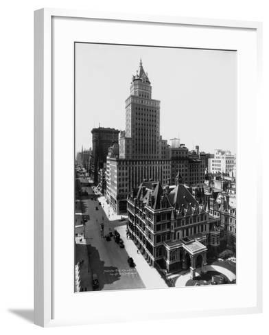 Aerial View of the Crown Building and Vanderbilt Mansion, New York-Irving Underhill-Framed Art Print