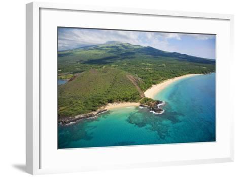 Aerial View of Maui, Little Beach and Big Beach, Hawaii-Ron Dahlquist-Framed Art Print