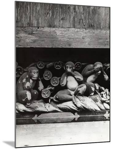 Three Wise Monkeys Sculpture at Toshugu Shrine--Mounted Photographic Print