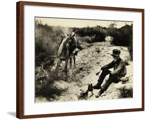 Prospector Preparing Meal for Himself--Framed Art Print