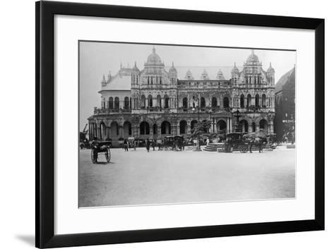Exterior of Large Bank with Carriages in Front--Framed Art Print