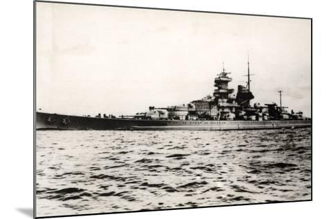 The German Battleship Gneisenau at Sea, Early in World War II--Mounted Photographic Print