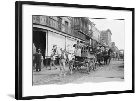 Woman Driving Horse-Drawn Wagon on Street--Framed Art Print