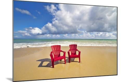 Beach Chairs Beckon on Baldwin Beach on the North Shore of Maui, Hawaii-Ron Dahlquist-Mounted Photographic Print