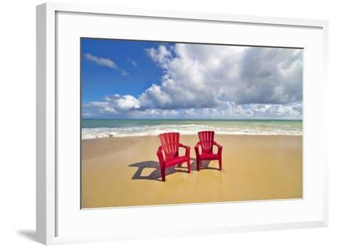 Beach Chairs Beckon on Baldwin Beach on the North Shore of Maui, Hawaii-Ron Dahlquist-Framed Art Print