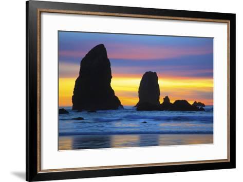 Sunset at Low Tide, Needles, Canon Beach, Oregon Coast-Craig Tuttle-Framed Art Print
