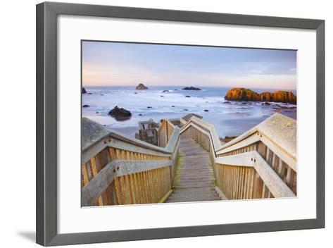 Rock Formations at Low Tide, Bandon Beach, Oregon Coast, Pacific Northwest. Pacific Ocean-Craig Tuttle-Framed Art Print
