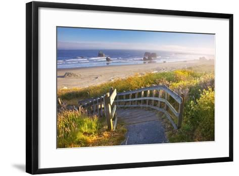 Morning Light Adds Beauty to Wildflowers and Fog Covered Rock Formations at Bandon State Park-Craig Tuttle-Framed Art Print