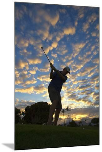 Silhouette of Golfer at Sunset, Maui, Hawaii-Ron Dahlquist-Mounted Photographic Print