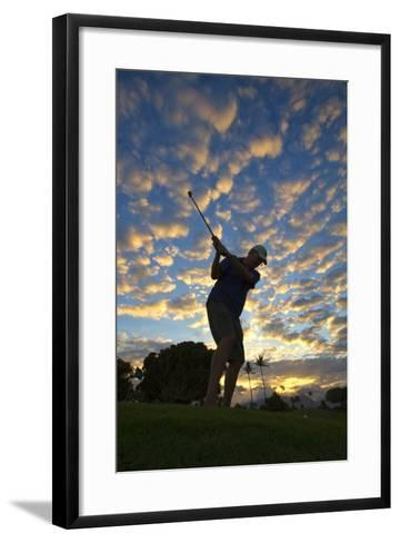 Silhouette of Golfer at Sunset, Maui, Hawaii-Ron Dahlquist-Framed Art Print