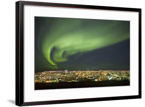 Aurora Borealis over Reykjavik-Arctic-Images-Framed Art Print