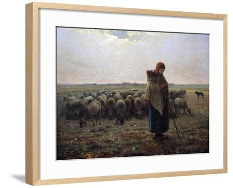 The Great Shepherdess by Jean-Francois Millet--Framed Art Print