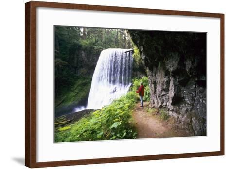 Hiker Looking at Waterfall-Craig Tuttle-Framed Art Print
