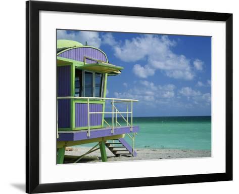 Lifeguard Tower Along South Beach-James Randklev-Framed Art Print