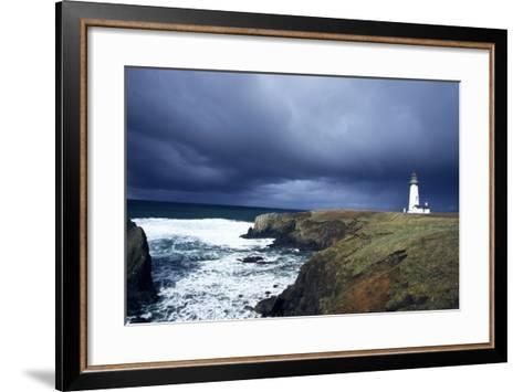 Yaquina Head Lighthouse at Dusk-Craig Tuttle-Framed Art Print