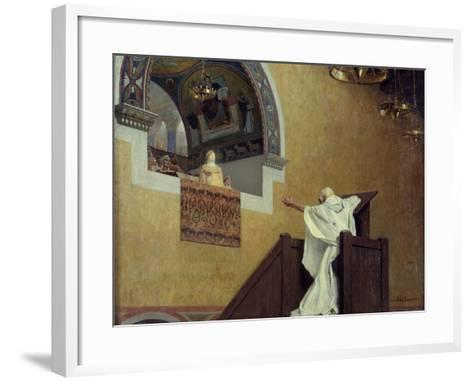 Saint John Chrysostom Confronting the Empress Eudoxia by Jean Paul Laurens--Framed Art Print
