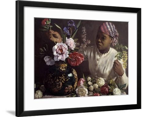 The Black Woman with Peonies by Frederic Bazille--Framed Art Print