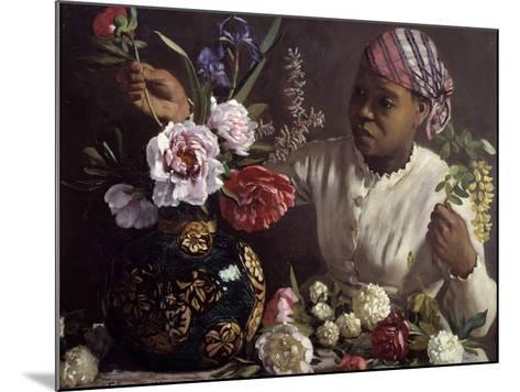 The Black Woman with Peonies by Frederic Bazille--Mounted Photographic Print