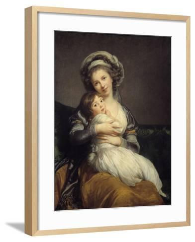 Self-Portrait in a Turban with Her Child by Elisabeth Louise Vigee-Lebrun--Framed Art Print