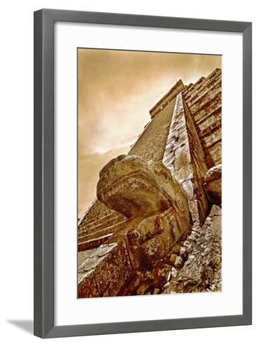 Serpent Head and Long Stairway on Pyramid of Kukulcan-Thom Lang-Framed Art Print