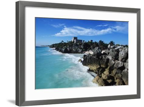 Mexico, Yucatan Peninsula, Carribean Sea at Tulum, the Only Mayan Ruin by Sea-Chris Cheadle-Framed Art Print