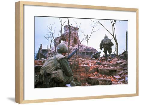 American Marines Advancing up Outer Wall of Citadel-Kyoichi Sawada-Framed Art Print