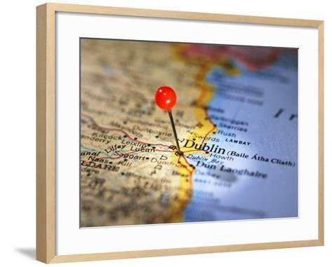 Dublin Marked on Map-Randall Fung-Framed Art Print