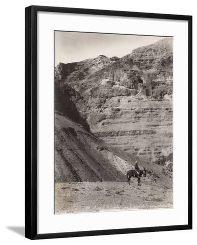 Palestinian Man on Donkey--Framed Art Print