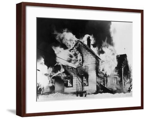 Burning House in Winter--Framed Art Print