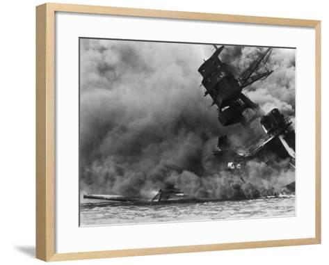 The USS Arizona Burning after the Japanese Attack on Pearl Harbor, Dec. 7, 1941--Framed Art Print