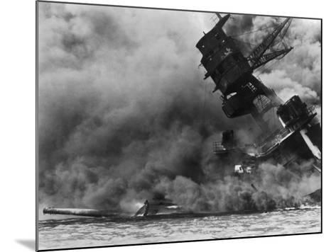 The USS Arizona Burning after the Japanese Attack on Pearl Harbor, Dec. 7, 1941--Mounted Photographic Print