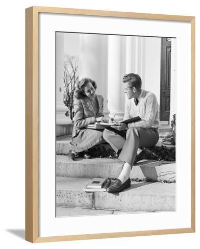 Students Studying on College Steps-Philip Gendreau-Framed Art Print