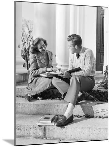 Students Studying on College Steps-Philip Gendreau-Mounted Photographic Print