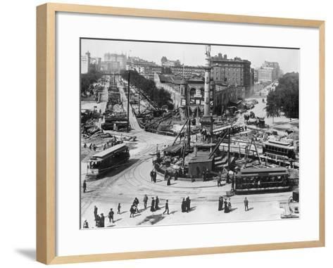 Construction at Columbus Circle in New York City--Framed Art Print