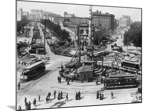 Construction at Columbus Circle in New York City--Mounted Photographic Print