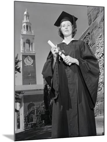 Woman in Mortarboard and Gown-Philip Gendreau-Mounted Photographic Print