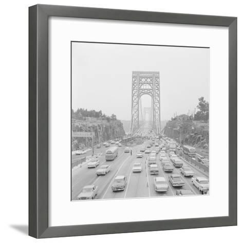 Traffic on George Washington Bridge-Bob Wendlinger-Framed Art Print