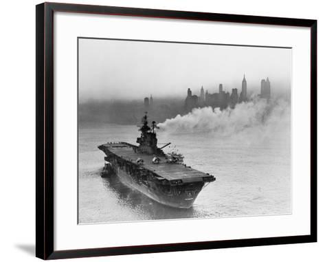 Large Ship Offshore of City Site--Framed Art Print