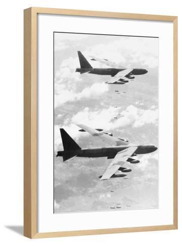 Bomber Planes Releasing Bombs--Framed Art Print