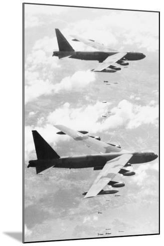 Bomber Planes Releasing Bombs--Mounted Photographic Print