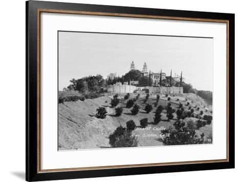 Exterior View of William R. Hearst's Castle with Landscape--Framed Art Print