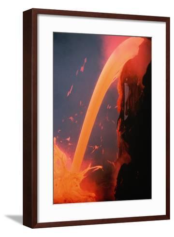 Lava Tube Pours into Ocean-J.D. Griggs-Framed Art Print