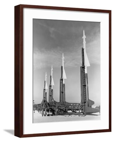 Four Nike Missiles in Vertical Position at Launching Site--Framed Art Print