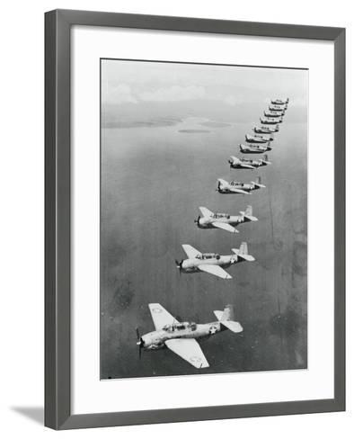 War Planes Flying in Formation--Framed Art Print