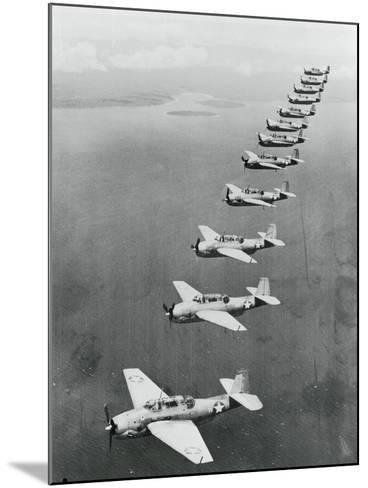 War Planes Flying in Formation--Mounted Photographic Print