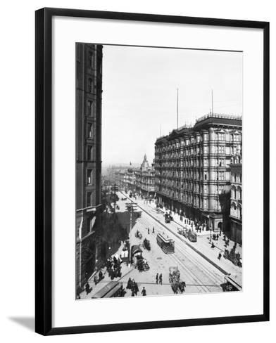 Streetcars in Front of Palace Hotel--Framed Art Print
